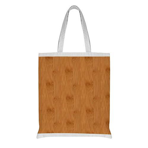 wuhandong Personalisierte Leinwand Tragetasche Bambus Toast Holzmaserung Muster Baumwolle Schultertasche Geburtstagsgeschenk Geschenk