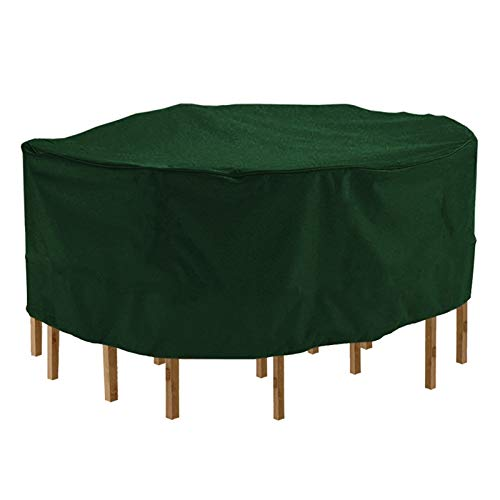 ErNahdasA Round Furniture Table Cover Durable Waterproof PVC Coated Polyester Fabric Home Outdoor Dust Case Furniture Accessories For outdoor gardens (Color : Green 2XL)