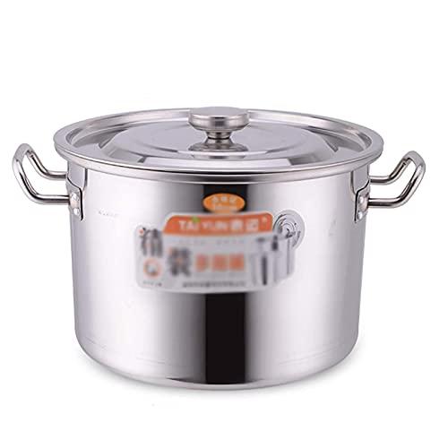 Olla para cocinar al vapor, olla para sopa de acero inoxidable 304 gruesa comercial/doméstica con tapa, para estufa de gas/cocina de inducción (8-70L) Sartén de cocción (tamaño: 20L)