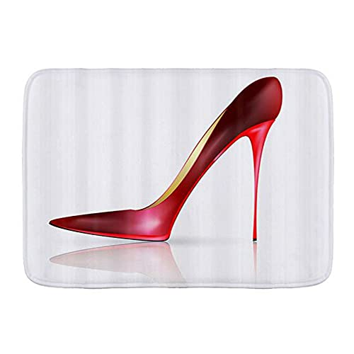 CONICIXI Alfombra de Baño Paris Fashion Rojo de tacón Alto Antideslizante Polyester Súper Suave Absorbente Tapete de Piso para Ducha,Cocina,Baño