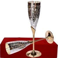 Tuin van Kunsten Verzilverd Puur Messing Premium Goblet Champagne Fluiten Coupes Wijnglas Set met Exclusiv Valvet Box