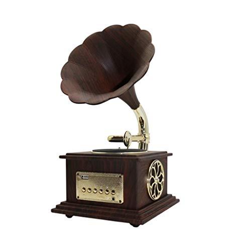 Fikujap Gramófono clásico Retro, Mini estéreo clásico, Altavoz estéreo, Caja de música del Sistema de Sonido, para Sala de Estar decoración de Dormitorio,D