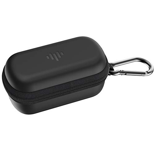 iLuv TBCASE Protective Black Earbud Case with Accessory Storage Mesh Pocket, Carabiner Clip, Sturdy Zipper & Water-Shock-Scratch Resistant Exterior; for The TB100s, TB200s & Most Compact Earphones