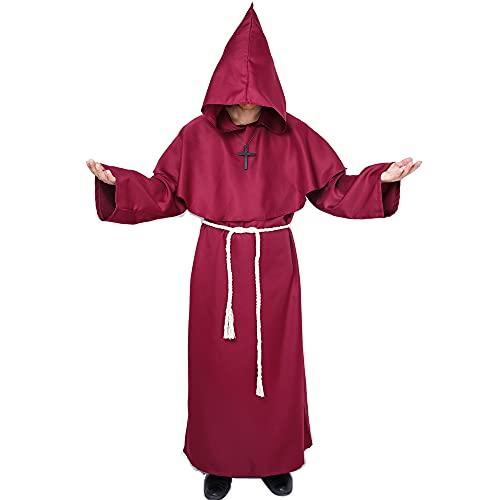 Myir JUN Disfraz de Monje Sacerdote Túnica Medieval Renacimiento Traje con Cruz para Halloween Carnaval (Marrón, XL)