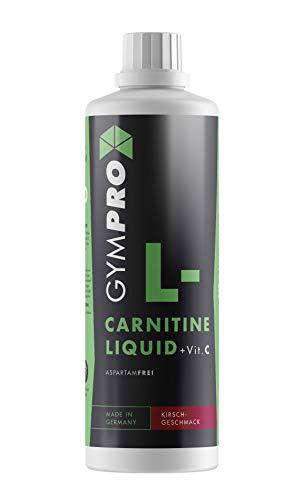 GymPro - L-Carnitin Liquid (1000ML Kirsche) trinkfertig mit Carnipure + Vitamin C Hochdosiert mit 2000mg flüssiges L Carnitine pro Portion. Getränk Sirup - Made in Germany