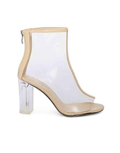 Heel & Buckle London Women's Beige Lucite Peep-Toe Boots 3 UK (36 EU)
