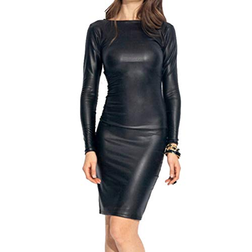 Shujin Damen Winter Langarm oder Armellos elegant Midi Bleistiftkleid Bodycon Clubwear Leder Dress in Latex Leder Lack Optik (L, Schwarz)