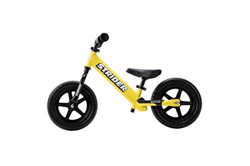 Strider 12 Sport - Bicicleta sin Pedales Ultraligera - para niños de 18 Meses, 2,3, 4 y 5 años, sillín Ajustable, 12 Pulgadas (Amarillo)