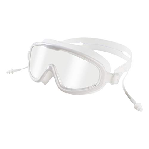 MAOJIE Integrierte Silikon-Ohrstöpsel Schwimmbrille Wasserdicht Anti-Beschlag-Schutzbrille Weiß