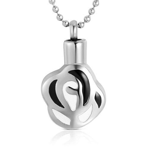 CHOUREN Pendant Necklace Urn CremationKeepsakeAshesUrns Stainless Steel Ashes Necklace Pet Chain Pendant Pet Urn