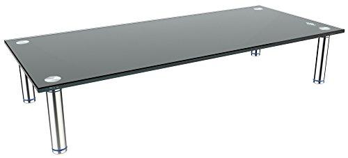 RICOO Soporte de Base para TV y Monitor FS6528-C Mueble Mesa de Cristal televisores Colgante Soportes no Inclinable y Giratorio 3D OLED LED LCD Plasma 4K Curvo Universal para televisor Transparente