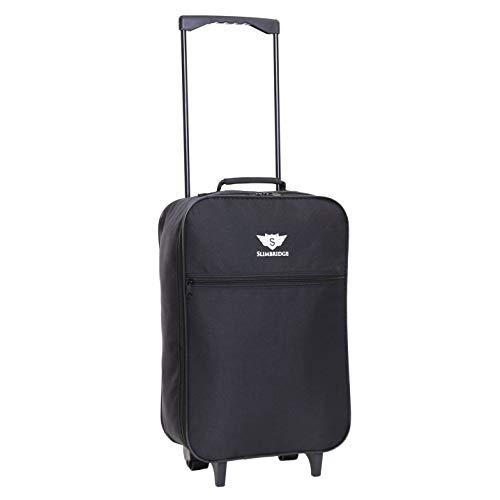 Slimbridge Leichtgewicht Handgepäck Trolley Koffer Bordgepäck Reisekoffer Superleicht Gepäck mit Rollen - 55 cm 950 Gramm 27 Liter auf 2 Rädern, Barcelona Schwarz