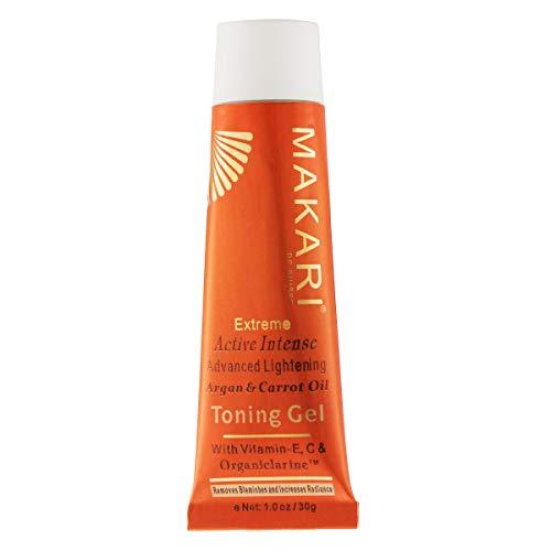 Makari Extrême Gel Éclaircissant aux huiles d'Argan & de Carotte (1.0oz.) Gel éclaircissant illuminant et raffermissant à base d'Organiclarine™ – Soins anti-âge, cicatrices acnéiques et rides
