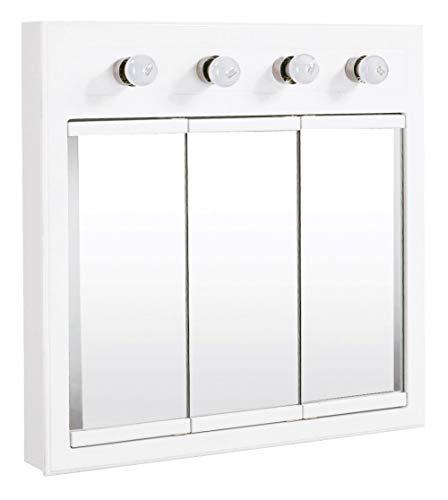 Design House 532382 Concord Lighted Tri-View Mirrored Medicine Cabinet, White, 30'