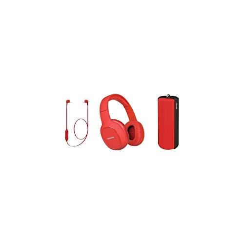 TOSHIBA - Wireless Audio Pack 3 in 1 - HSP-3P19S - Rot - Bluetooth-Headset - Bluetooth-Lautsprecher - Bluetooth-Kopfh�rer