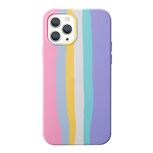 Yesun K Creative Cute Rainbow Stripe Line for iPhone 12 Pro Max Liquid Silicone Protective Phone Case,for Girls, Women, Men (Pink)
