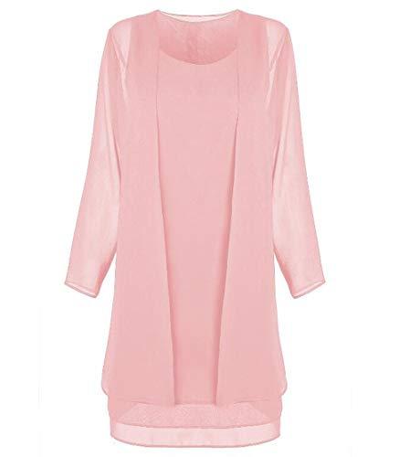 ZJEXJJ Damen Kleid Chiffon Stitching Langarm Zweiteilige Strandkleid Cocktailkleid beiläufige lose Lange Zweiteilige Set (Color : Pink, Size : XXL)