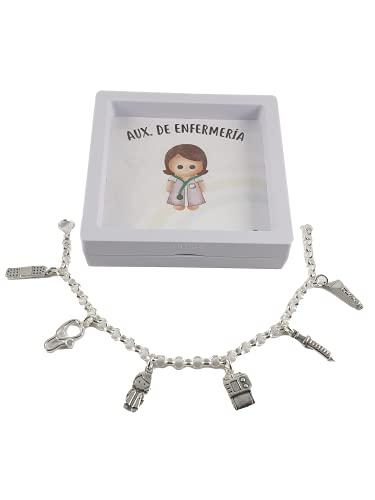 pulsera plata ley mujer auxiliar enfermería 22cm