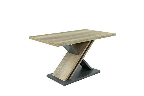 HOMEXPERTS Tisch JAX / Rechteckiger Säulen-Tisch in Eiche-Optik hell-braun / Designer-Esszimmertisch / 140 x 80 x 75 cm (BxHxT) / Melamin Monument Oak, Applikation Melamin anthrazit