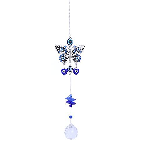 Mal de Ojo Colgar en La Pared CNNIK Amuleto Azul con Bola de Cristal Azul Perlas Mal de Ojo para el Dormitorio Adorno Amuleto Regalo de Cumpleaños Decoración del Hogar (Butterfly-Flower)