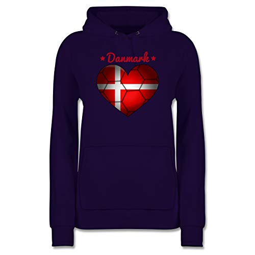 Handball - Handballherz Dänemark - XXL - Lila - Pullover Damen - JH001F - Damen Hoodie und Kapuzenpullover für Frauen