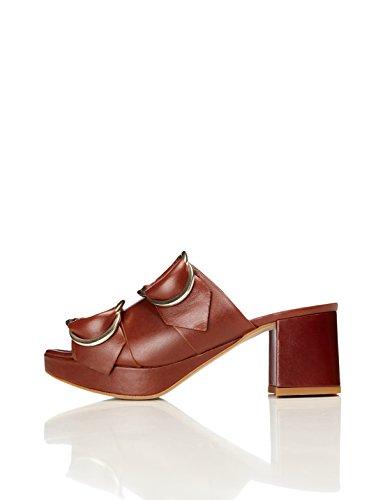 find. Plateau Sandalen Damen aus Leder mit großen Laschen, Blockabsatz und offener Ferse, Braun (Chocolate), 38 EU