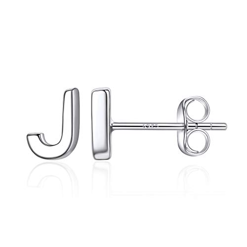 Sterling Silver Initial Letter Stud Earrings for Women, Sterling Silver Alphabet A-Z Minimalist Jewelry S925 Earring for Women Girls, Love Gifts for Her (Send Gift Box)-Silver