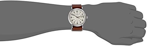 Timex Homme 40mm Bracelet Cuir Marron Boitier Laiton Quartz Montre T2P495