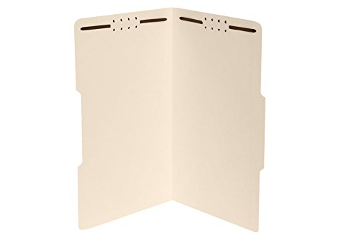 50 Legal Size 1/3 Cut Fastener File Folders - Reinforced Top Tab - Durable 2 Prongs Designed to Organize Standard Legal and Medical Files, Law Office Reports - Legal Size, Manila, 50 Pack
