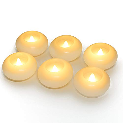 Homemory 3 Inch Flameless Floating Candles, 150 Hour, White Wax, Battery Flickering Waterproof Tealights - Wedding Centerpiece, Engagement, Christmas, Beach Parties, Home Decor, Set of 6