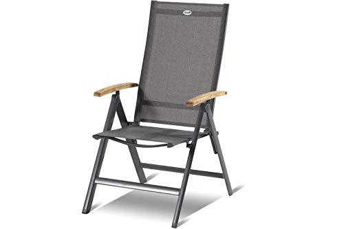 Hartman Aruba Multipositionssessel in Xerix Anthrazit, solides Aluminiumgestell, Sitzfläche aus hochwertiger Textilene, ca. 68 x 62 x 111,5 cm, Rückenlehne verstellbar, Teakholz-Armlehne, wetterfest