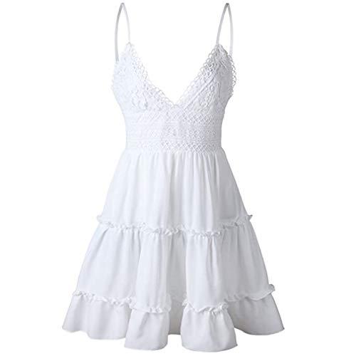 V Ausschnitt Kleid Damen Spitzenkleid Träger Rückenfreies Bogen Kleider Sommerkleider Strandkleider High Waist Volant Kleider Vintage Minikleid (Weiß, S)