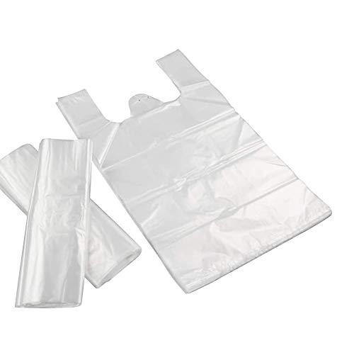 SIMUER 300pz Sacchetti di Plastica Trasparente con Manici, Sacchetti da Trasporto in Stile Gilet Nuovi Materiali in Tre Dimensioni 6,7 * 10,7 Pollici, 7 * 10,2 Pollici, 10,2 * 15,7 Pollici