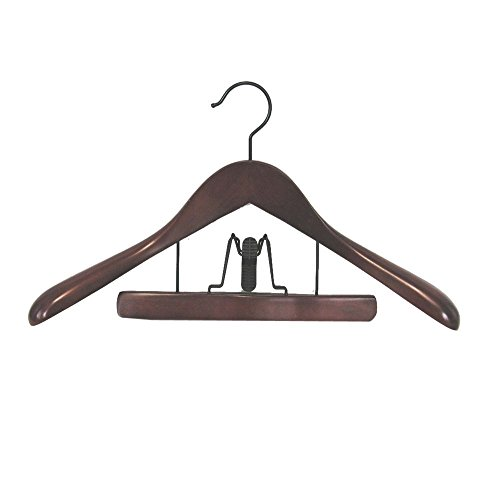 Taurus Suit Hanger w Trouser Clamp in Mahogany - Set of 12