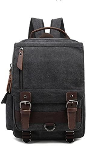 XIAOZHANG Bolsa de postura de la vendimia bolsa de hombro lienzo Línea Mochila de lona Maleta de la bolsa de colgaje-negro