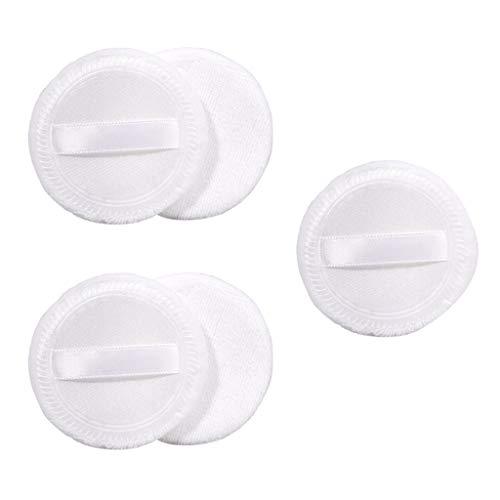 5 Stück Weiche Puderquaste Make-up Puderschwamm Schwämmchen aus Baumwolle - weiß