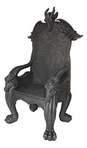 Ebros Gift 60' Tall Fantasy Celtic Overlord Dragons Heavy Sculptural Throne Chair Furniture Medieval Castle Seat of The Dragon Lord