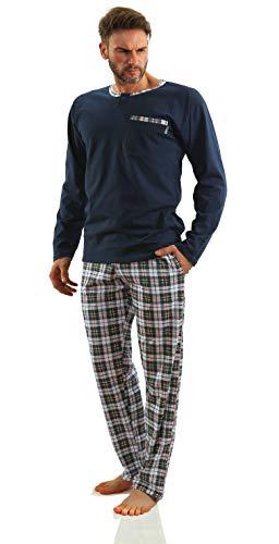 Sesto Senso Herren Schlafanzug Lang Baumwolle Pyjama Langarm Shirt mit Tasche Pyjamahose Zweiteilig Set Bunt Nachtwäsche M Dunkel Blau