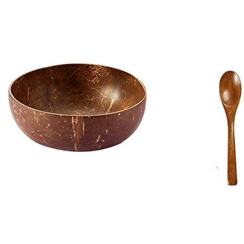 Bestevery Natural Coconut Bowls and Spoons, Lightweight Durable Soup Fruit Salad Noodle Rice Bowl Wooden Fruit Bowl Breakfast Bowls