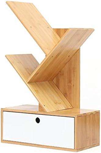 Bücherregal Desktop, Massivholz mit Schublade Tischaufbewahrungsst er-Bücherregalst er-Organisator, für Büro und Hauptdekor-Anzeige, 2 Farben