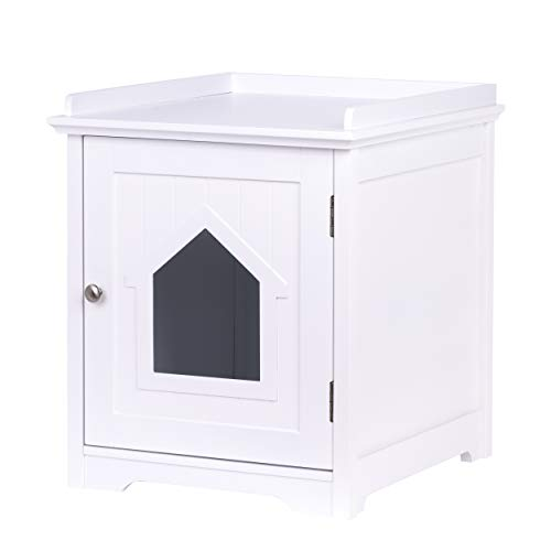 PAWLAND Cat Litter Box Enclosure, Cat House Side Table,Night Stand Pet House, Indoor Cat House, White