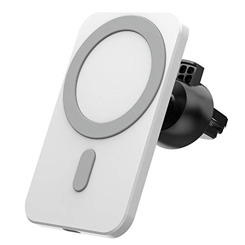 Cargador inalámbrico para coche, QI Cargador rápido de coche, magnético, se puede utilizar en el parabrisas/salpicadero, compatible con iPhone 12 Mini/12 Pro Max(blanco)