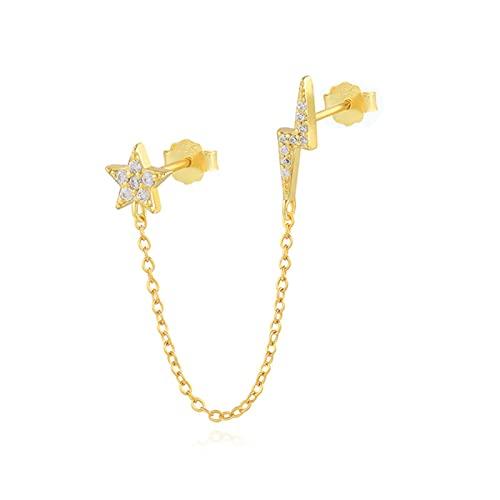 1 piezas de diamantes de imitación de lujo Hiphop gótico Punk S925 pendientes de plata para mujer joyería de fiesta de niña-1 piezas de oro
