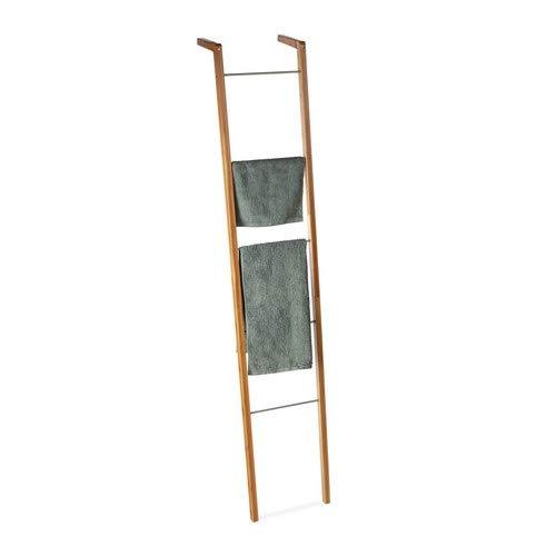Relaxdays Ladderrek van bamboe, handdoekhouder, decolladder met 5 sporten, plankladder, h x b x d: 180 x 35 x 20 cm, natuur