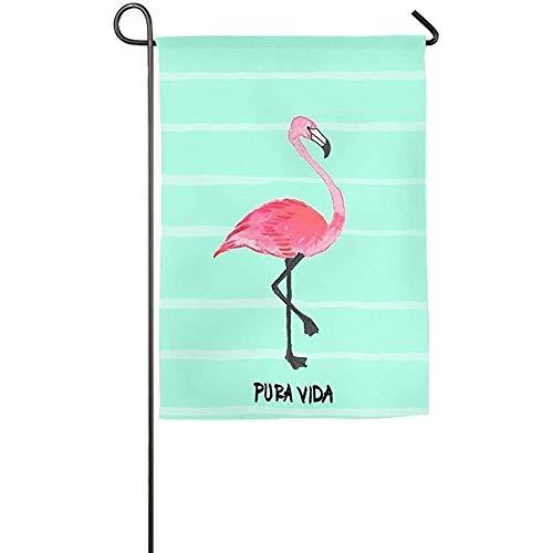 Auld-Shop Drapeau de Jardin-personnalisé Pura Vida Flamingo Yard Flag