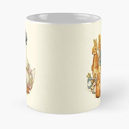 Taza de café de cerámica para niños, decoración de la cola de Cecily Beatrix Rhymes Potter Nursery Perejil Room Fairy Kids Dormitorio Comer Comida Bite John Best 11oz