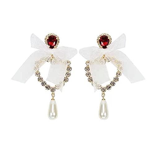 Pendientes de botón de personalidad de perlas con colgante de amor de encaje Pendientes barrocos vintage Pendientes de aguja de plata de moda antigua