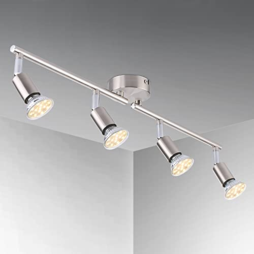 Ceiling Light Fittings 4 Way Ceiling Spotlight Rotatable Swiveling Lamp, Tomshin-e LED Ceiling Spotlight for Kitchen, Living Room, Bedrooms, Lounge(Including 4x4W GU10 LED Bulbs)