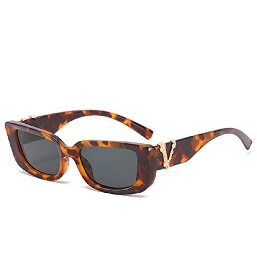 MIMITU 2021 Gafas de sol pequeñas vintage para mujer, hombre, retro, mujer, gafas de sol, gafas cuadradas, gris leppard