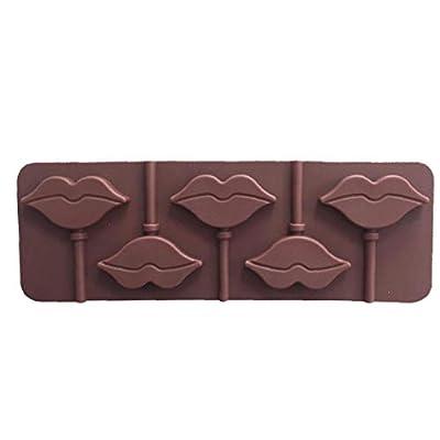 Lèvres rouges Lollipops gâteau moule moule en silicone pour Candy Chocolate ustensiles de cuisson moule 5 Cavity